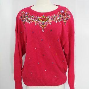 Vintage Plus Size Sweater Rhinestones 90s style
